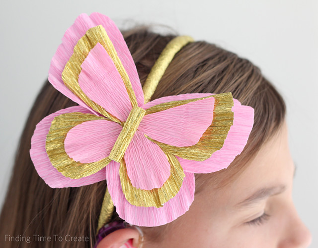 Butterfly headband with italian crepe paper