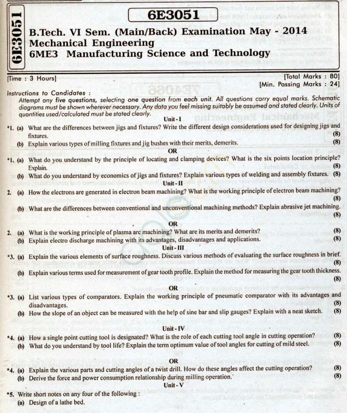 RTU: Question Papers 2014 - 6 Semester - ME - 6E3051