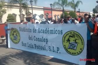 Sindicato Académico de Conalep vuelve a tomar las calles