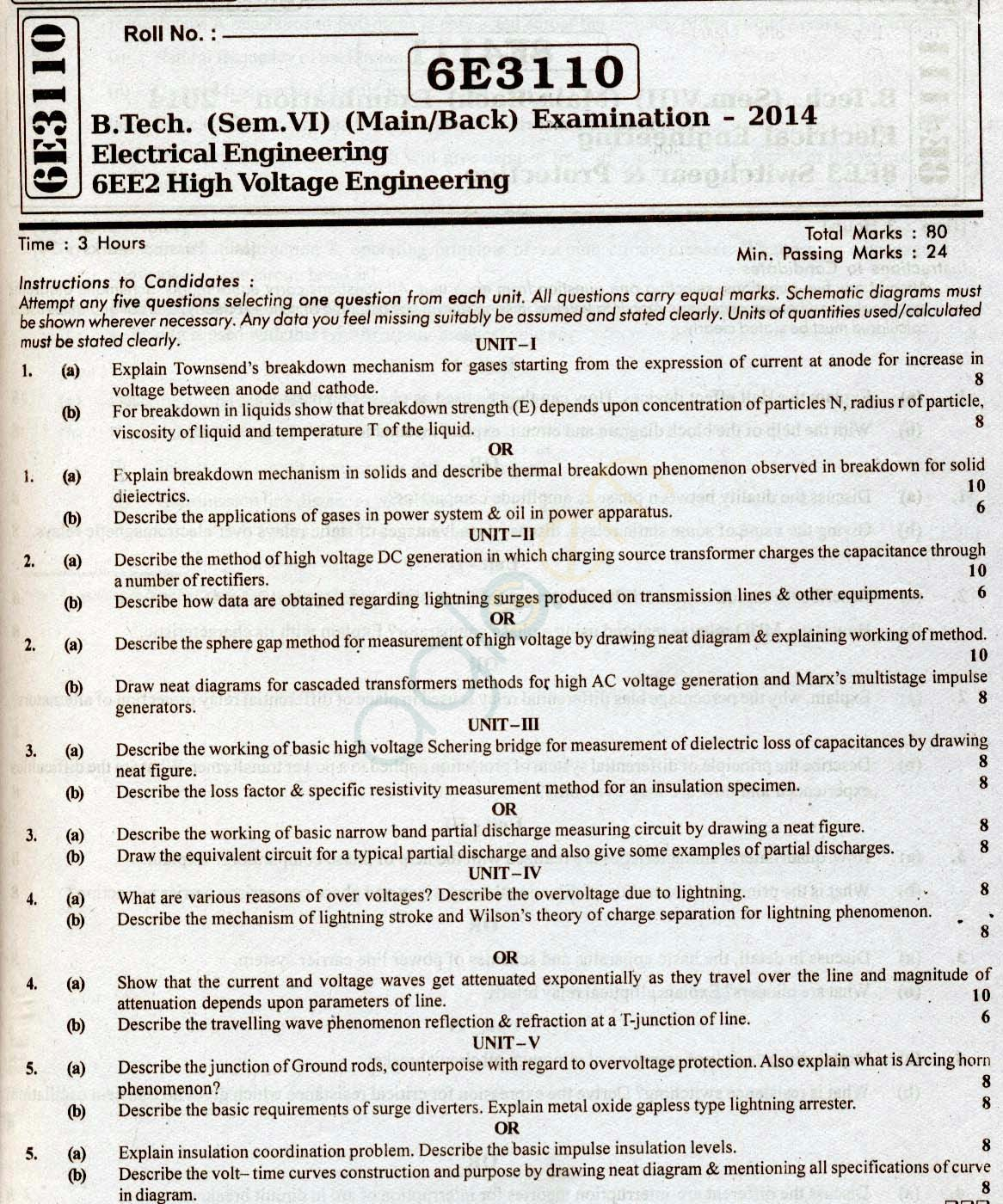 RTU: Question Papers 2014 - 6 Semester - EE - 6E3110