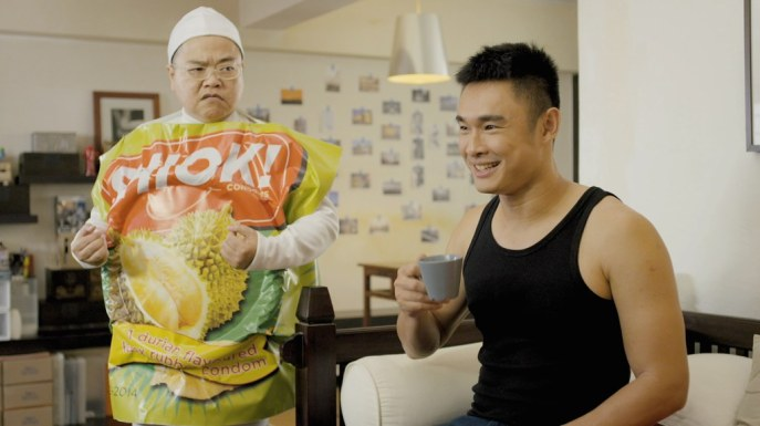 Lee Chau Min playing the role of an imaginary durian-flavoured condom in The Plumber