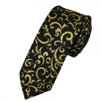 Van Buck Black & Gold Regal Patterned Skinny Prom Tie ...