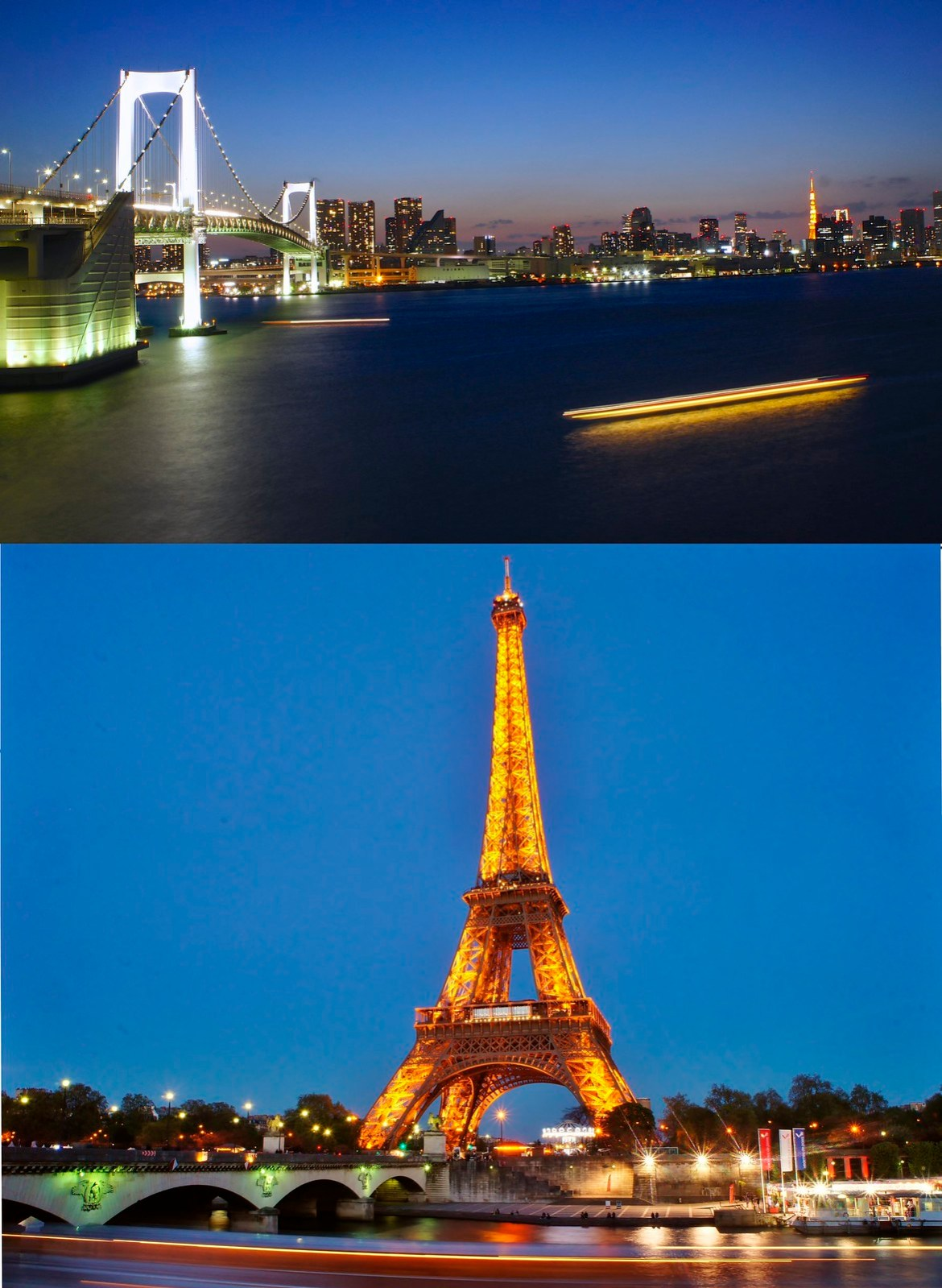 Ship trails of Eiffel Tower and Tokyo Tower