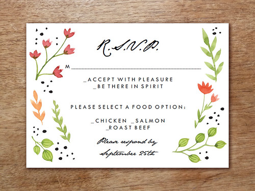 Water Color Flowers RSVP Printable
