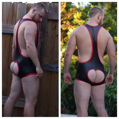Open Ass Black And Red Leather Look Singlet See More Singlets At Gruffpup Com