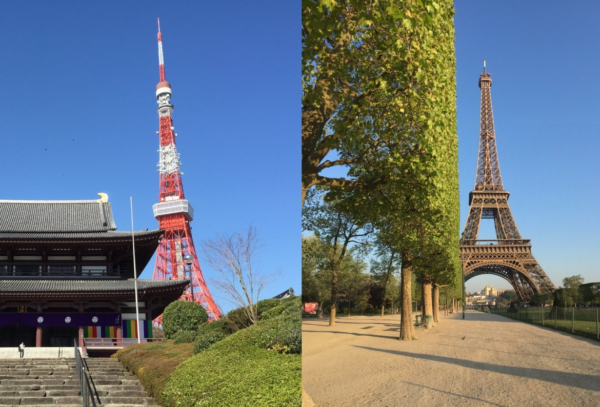 Tokyo Tower and Eiffel Tower in Paris