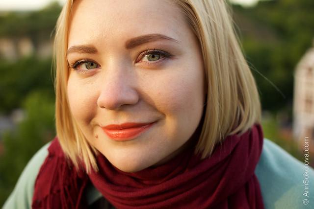 07 Guerlain KissKiss Lipstick #540 Peach Satin makeup swatches Ann Sokolova