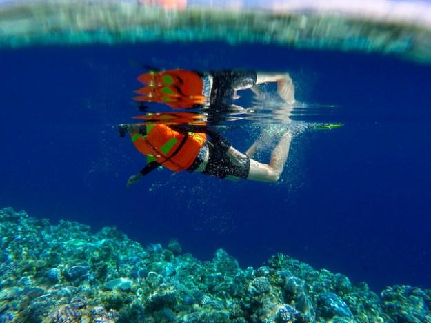 Swimming splash. Togean Islands