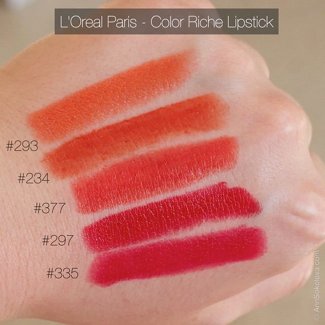 09 L'Oreal Paris Color Riche Lipstick 30 years new shades 293, 234, 377, 297, 335 swatches