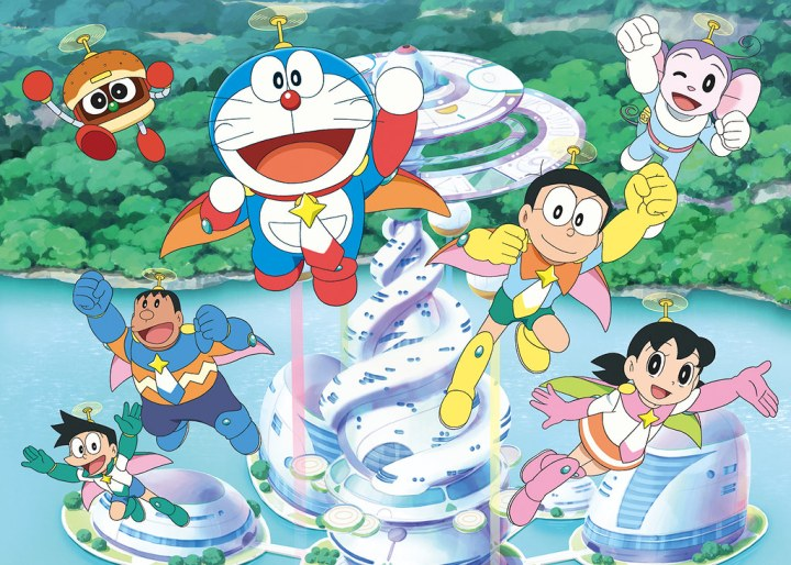Doraemon, Nobita and his friends go fight against space monsters.