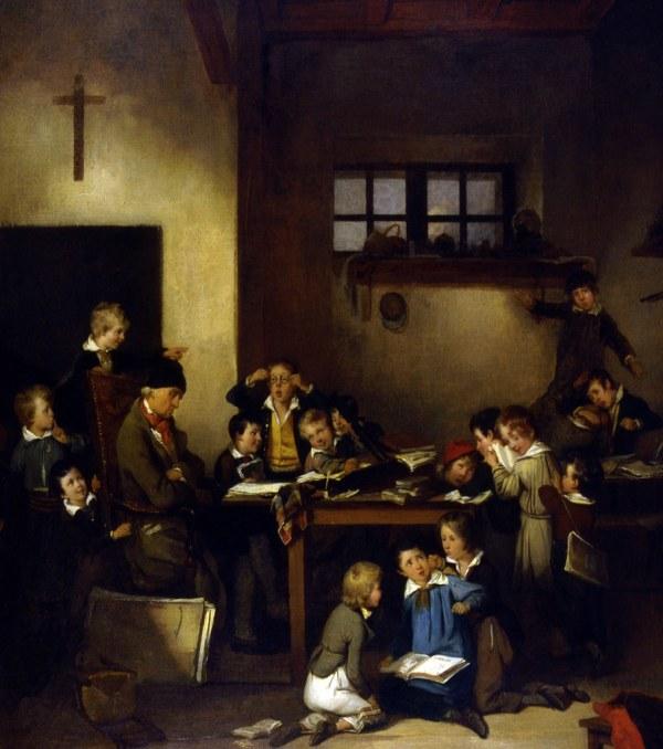 Le Matre 'cole Endormi 1831 Huile Sur Toile De