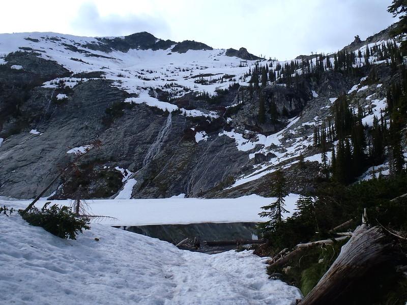 Frozen lake and waterfall