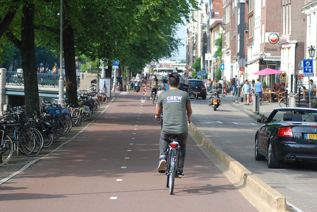 Dutch two-way cycle path in Amsterdam