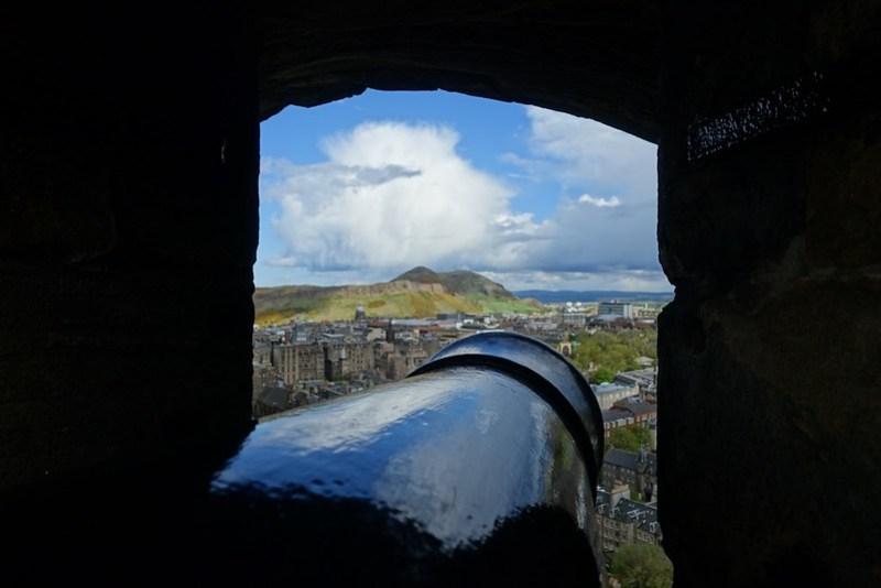 Arthur's Seat, through a cannon-port at Edinburgh Castle