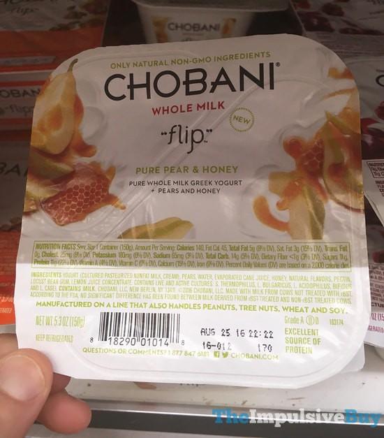 Chobani Whole Milk Flip Pure Pear & Honey Greek Yogurt