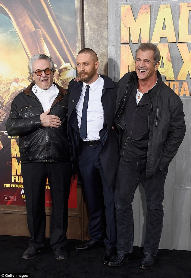 Goerge Miller, Tom Hardy and Mel Gibson at the Los Angeles premiere of Mad Max: Fury Road. (Credit: dailymail.co.uk)