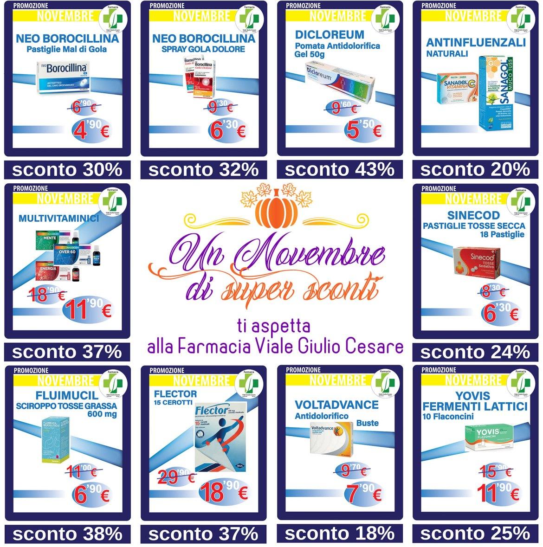 Farmaci e prodotti della Farmacia in sconto nel mese di novembre a Novara