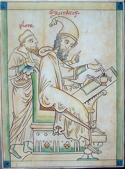 Sócrates y Platón. Pergamino del s. XIII realizado por el monje Mateo Paris en la Abadía de Saint Alban. Se conserva en Oxfor. Este pergamino es muy conocido por su influencia en la obra del deconstruccionista Jacques Derrida.