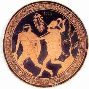 Soldados hoplitas típicos de vajilla espartana. La unidad del batallón de hoplitas debe trasladarse a la ciudad-Estado