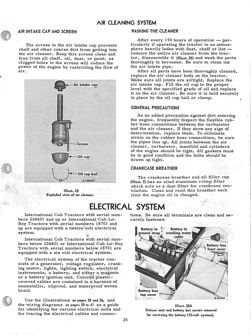 medium resolution of the manual is made for many years of cubs showing 6 and 12 volt info if your cub is a 1973 use the 12 volt info