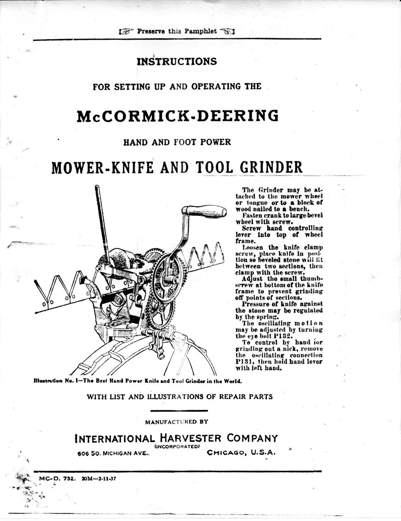 McCormick-Deering Hand and Foot Powered Mower-Knife and