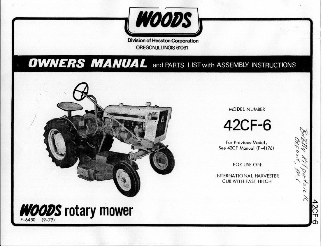 Woods 42CF-6 Rotary Mower Manual