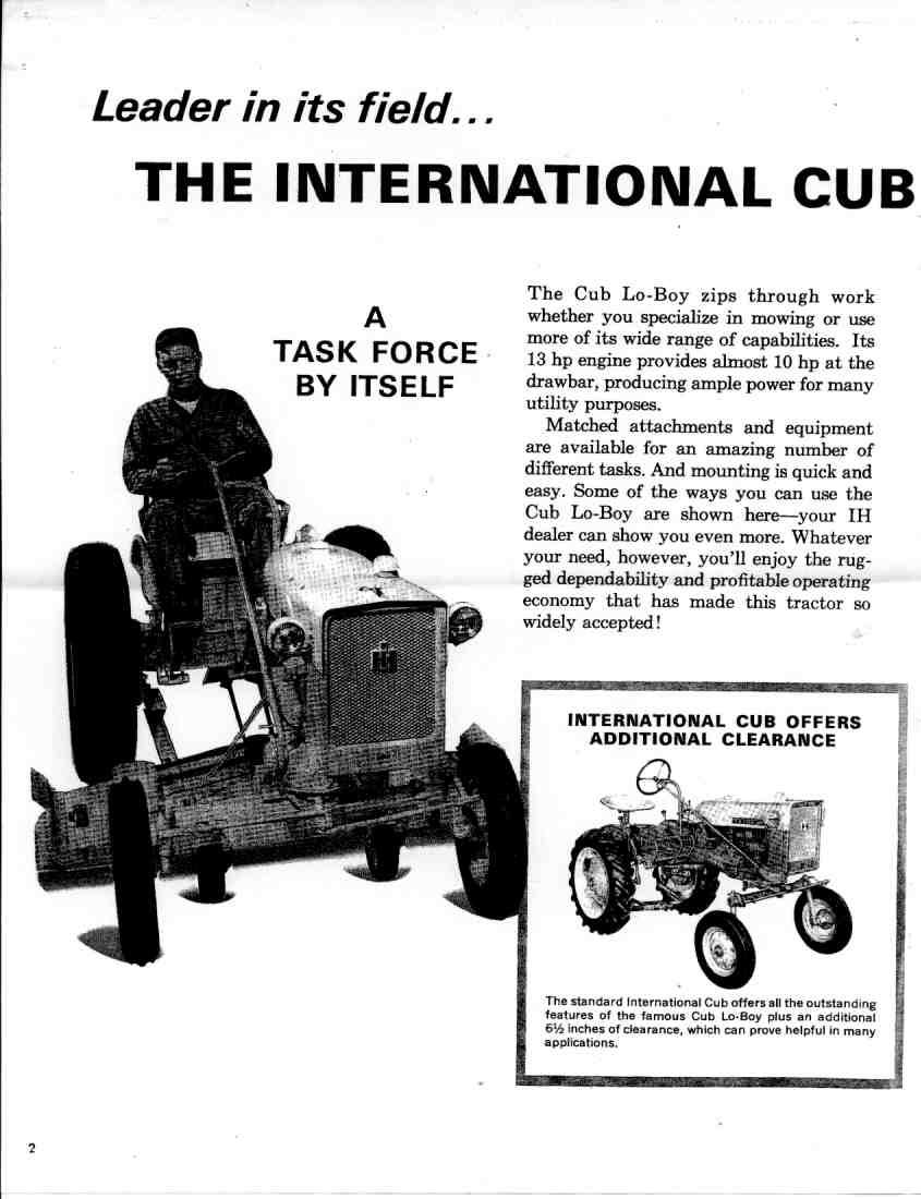 IH mid 1960's Cub Lo-Boy and Cub Tractor Brochure