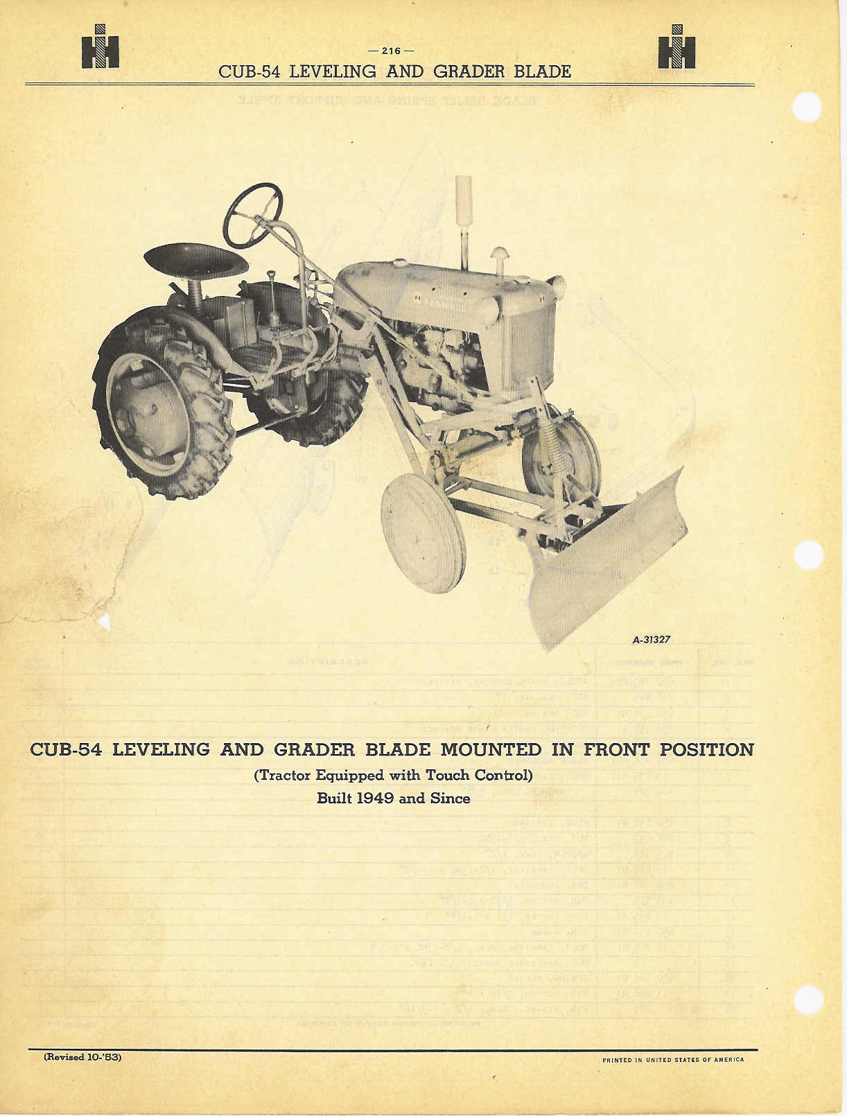 hight resolution of cub leveling and grader blade farmall 400 tractor diagram cub leveling and grader blade