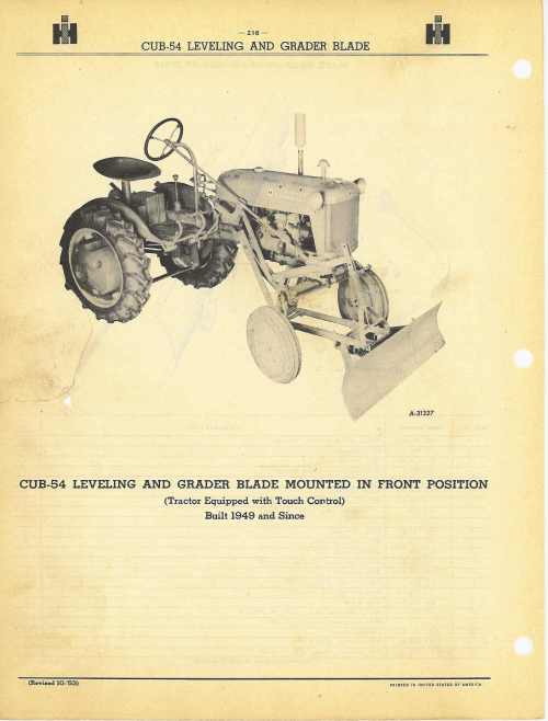 small resolution of cub leveling and grader blade farmall 400 tractor diagram cub leveling and grader blade