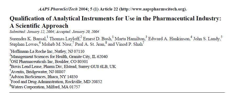Download Jurnal : Qualification of Analytical Instruments for Use in the Pharmaceutical Industry: A Scientific Approach