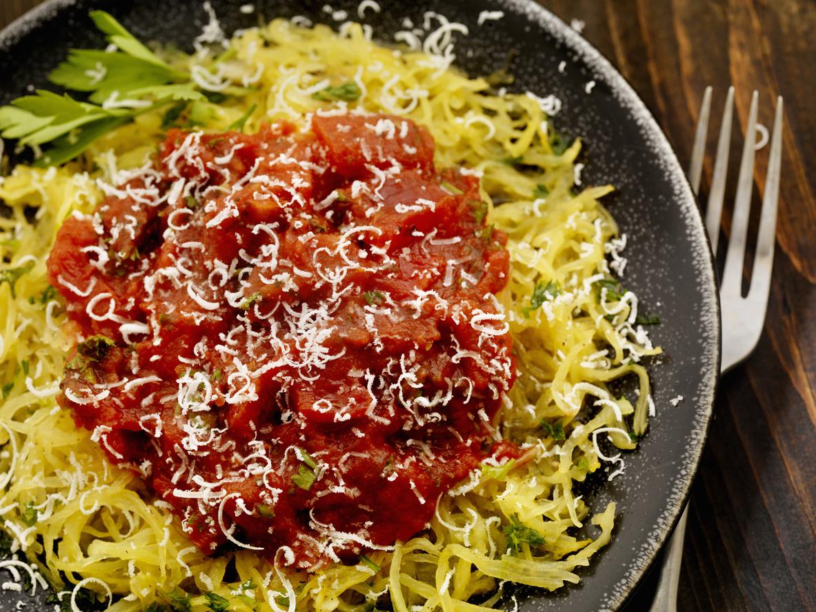 "Spaghetti Squash ""Pasta"" with Homemade Tomato Sauce"