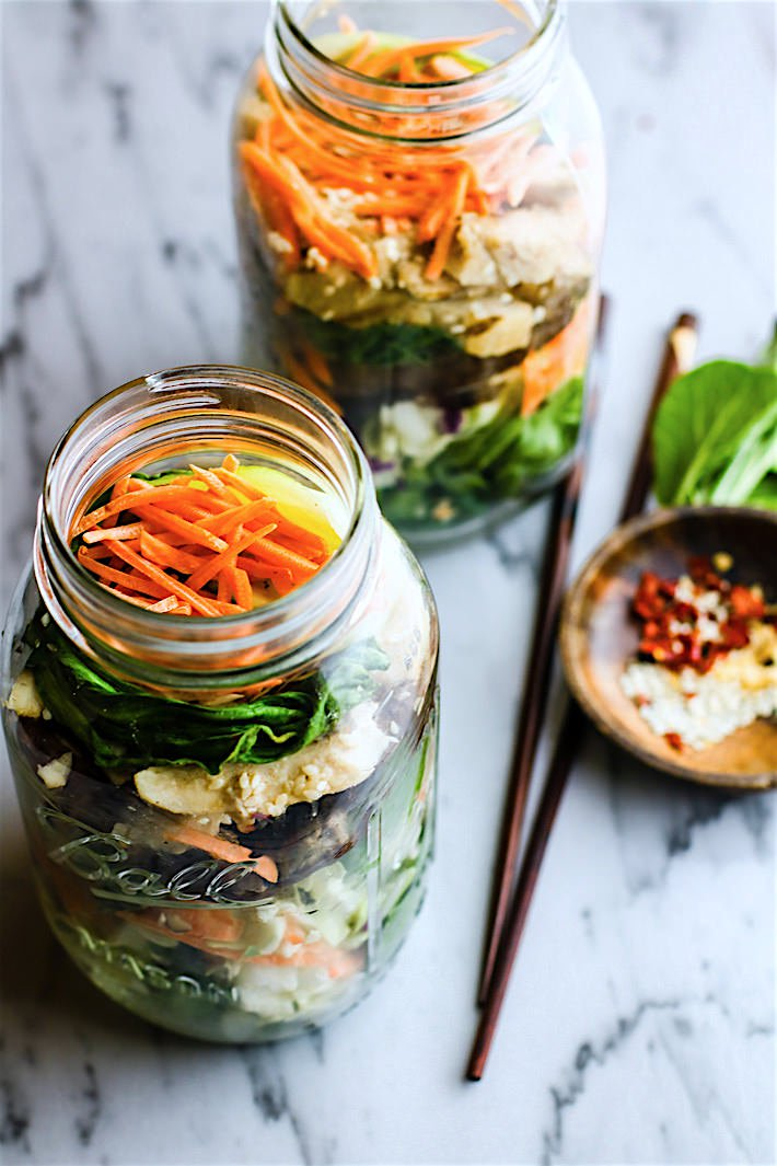 Bok Choy, Carrot, and Radish Mason Jar Salad with Sunflower Seeds and Balsamic Dressing