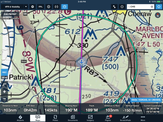 Initial look of Foreflight after leaving CWQ heading for Charleston