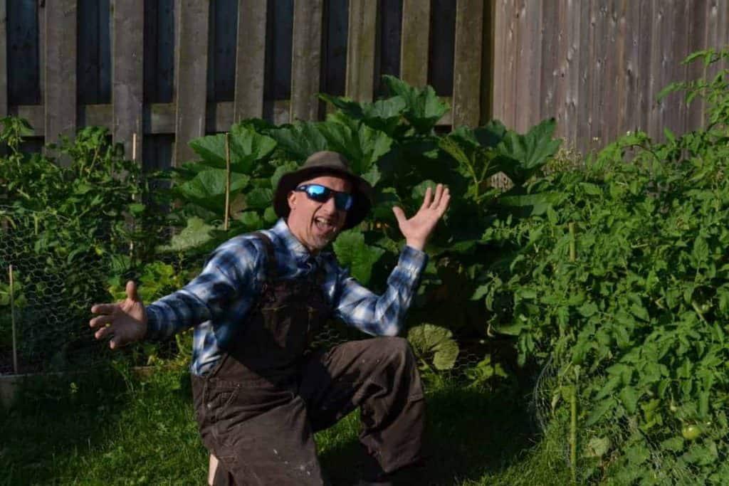 Farmer Jer in his backyard gardens