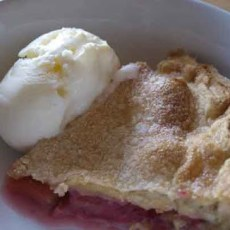 A slice of Quick an d Easy Rhubarb Tart
