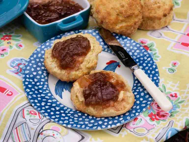 Rich fruity jam with pieces of preserved ginger make this Rhubarb and Ginger Jam so delicious