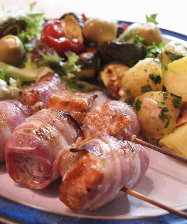 BAcon Wrapped Trout Kebabs with Gravadlax Potato Salad