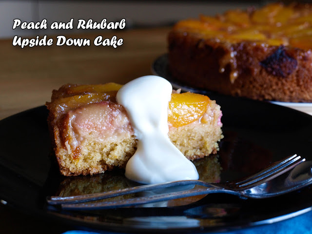 Peach and Rhubarb Upside Down Cake