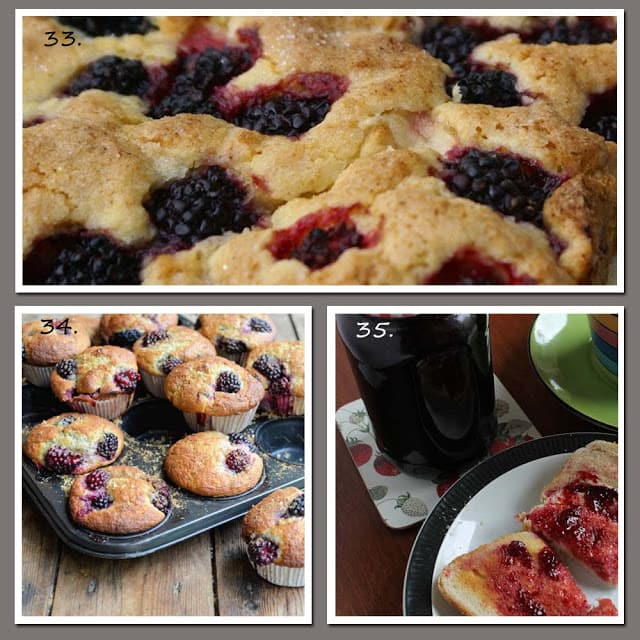 Blackberry cakes, muffins and jelly