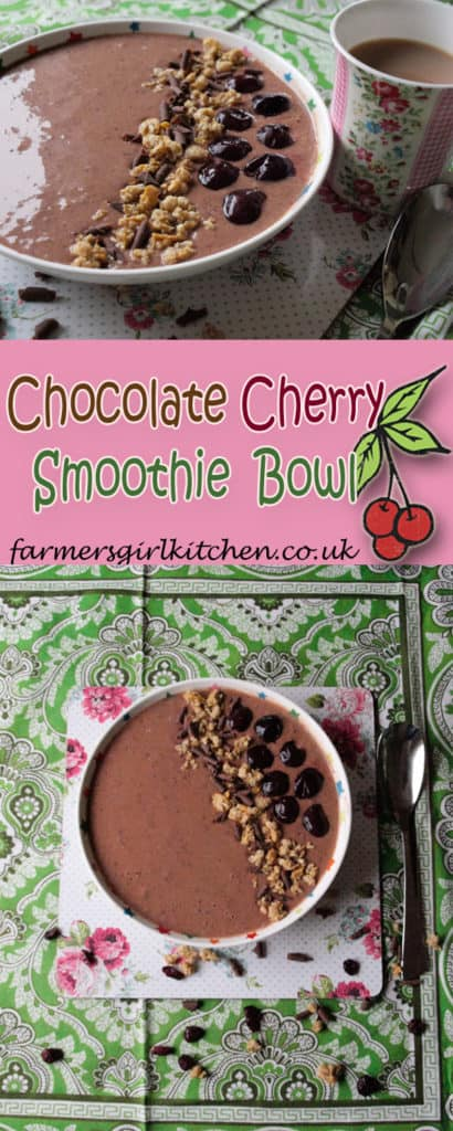 A delicious start to the day with this Chocolate Cherry Smoothie Bowl with the Optimum G2.3