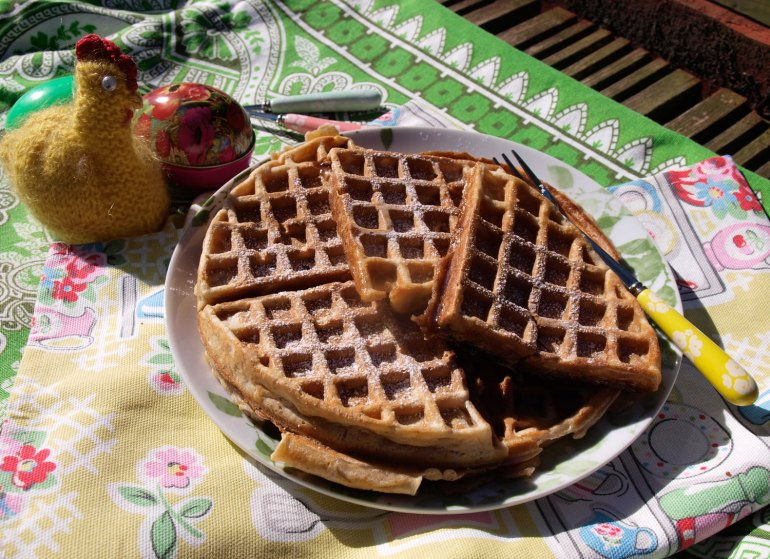 Hot Cross Bun flavoured waffles, ideal for Easter breakfasts