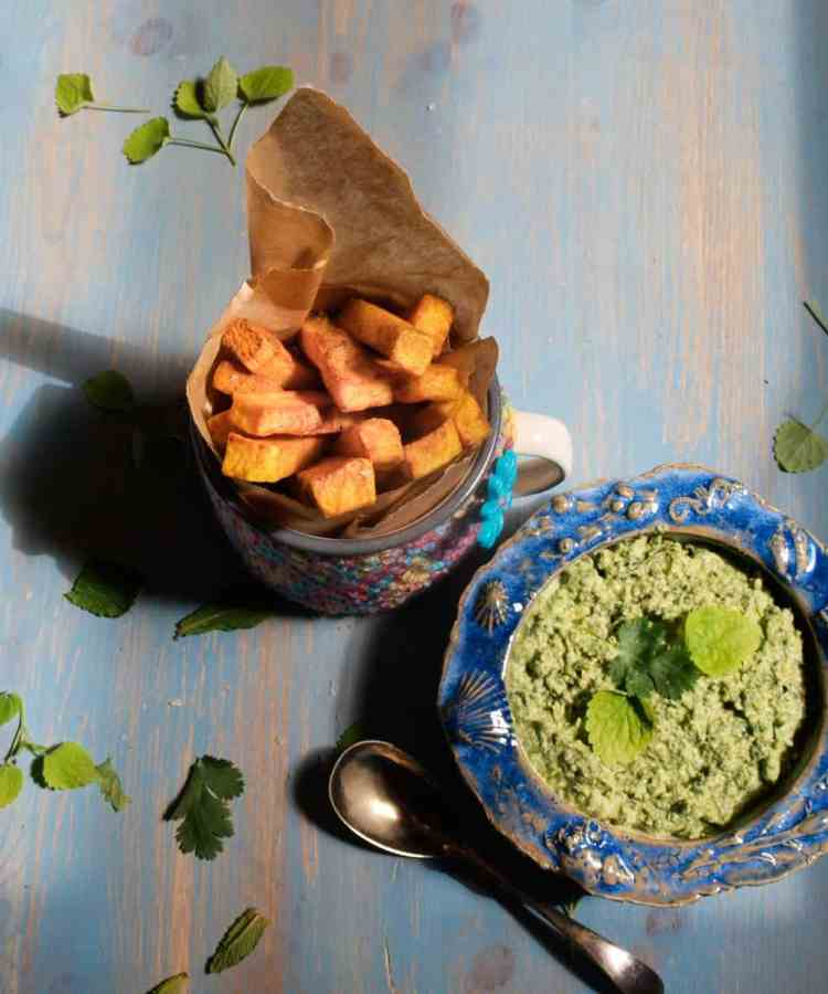 Golden Turmeric Fries with Coriander and Mint Dip
