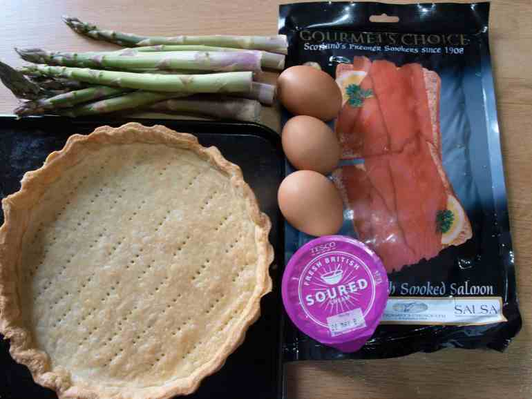 Ingredients for Smoked Salmon and Asparagus Tart