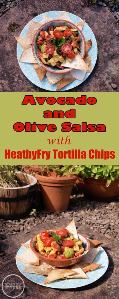 When the sun is shining there's nothing nicer than a bowl of Avocado and Olive Salsa with some HealthyFry Tortilla Chips to dip into the bowl.