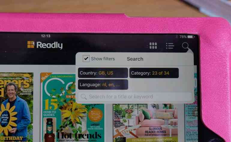 Search Function on Readly Magazine Heaven