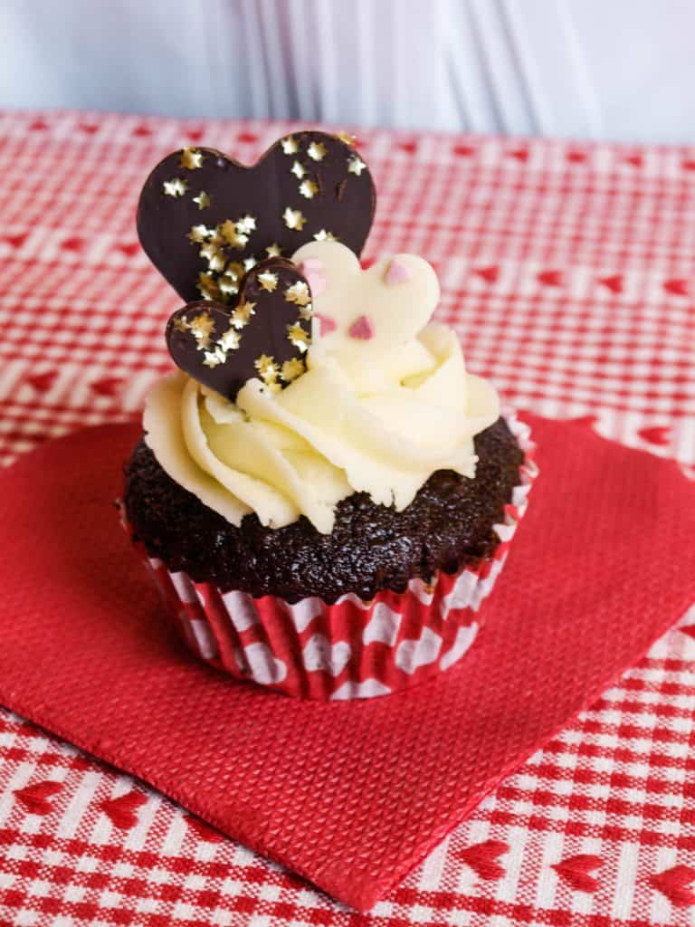 Chocolate Gingerbread Cupcakes, dress them up with chocolate hearts for a perfect Valentine's Day gift