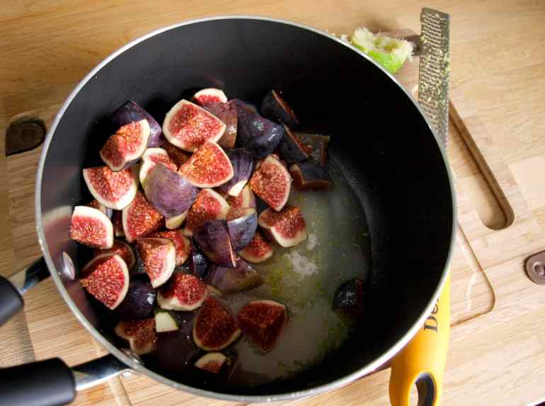 Put all the ingredients in the pan for Fig & Lime Jam