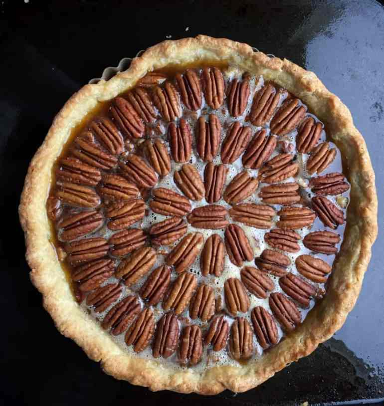 Take a little time to arrange the pecans in concentric circles for the Perfect Pecan Pie