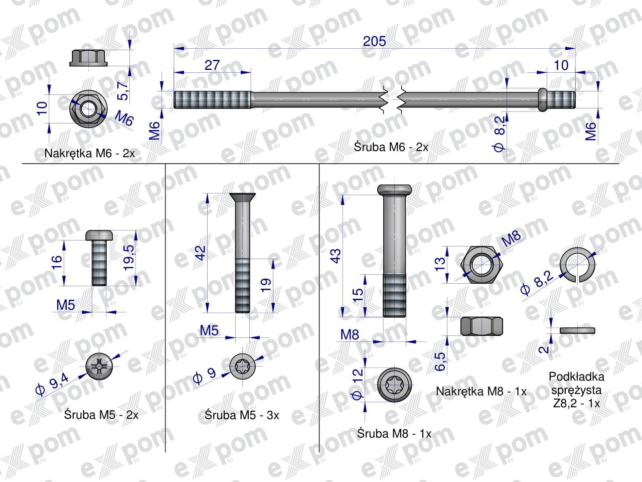 Komplet śrub rozrusznika 2005834177. 46657000 C-330 C-360