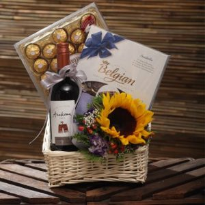 sunshine chocolate and wine gift basket
